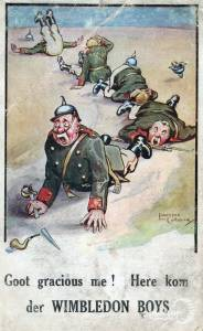 Satirical Postcard about Wimbledon soldiers in WW1