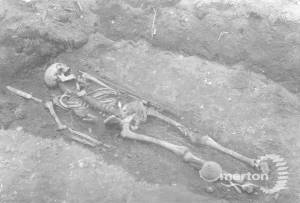 Skeleton discovered at the Anglo-Saxon cemetery, near Morden Road, Mitcham