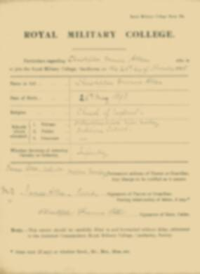 RMC Form 18A Personal Detail Sheets Nov 1915 Intake - page 1
