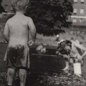 Children playing at 'Hereford Beach' on the River Wye.
