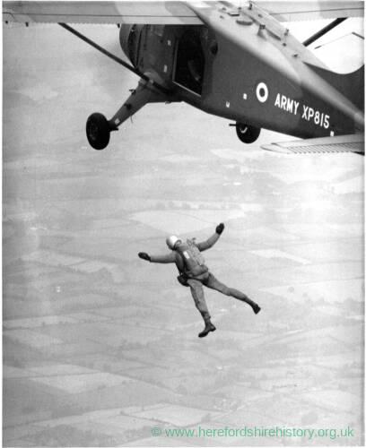 A man freefalling.