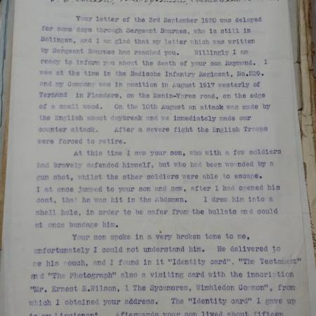Letter to the father of Raymond E Wilson from a German soldier 1/2