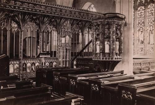 Rood screen and pulpit, Harberton Church,c1900, Harberton