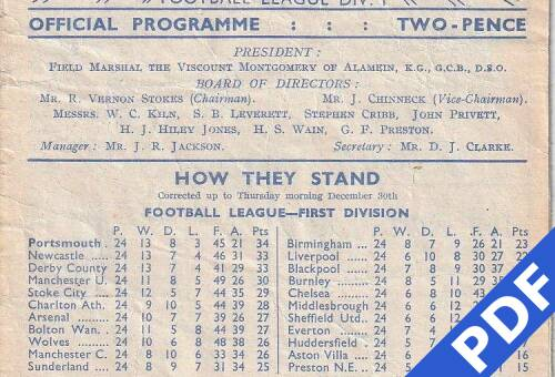 19490101 Official Programme Crystal Palace Home FCC