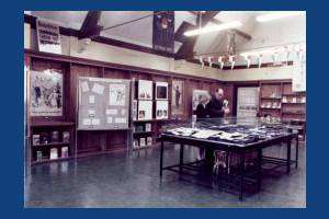 Wimbledon Library - Mr. Milson and Susan in Exhibition room.