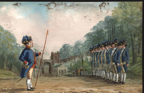Captain Cook reviewing the javelin men at assizes, c.1820, Exeter