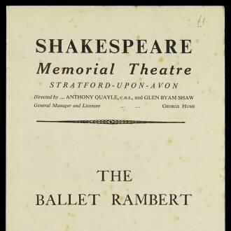 Shakespeare Memorial Theatre, Stratford-upon-Avon, November–December 1953