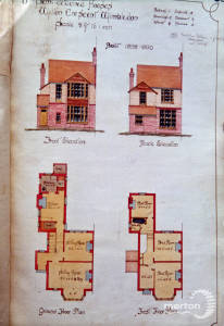 Wilton Crescent, Proposed Semi Detached Houses, No. 1,3,5,7,9,11 Elevations and Plans 1898-1900, Merton Park