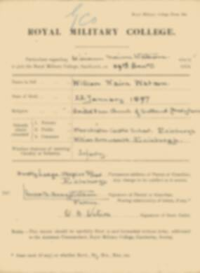 RMC Form 18A Personal Detail Sheets Jan 1915 Intake - page 370