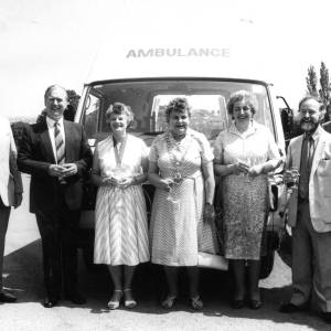 1986 June 19; First Ross Action bus, Peggy Luker, Mary Dew and Rosemary Rigby present
