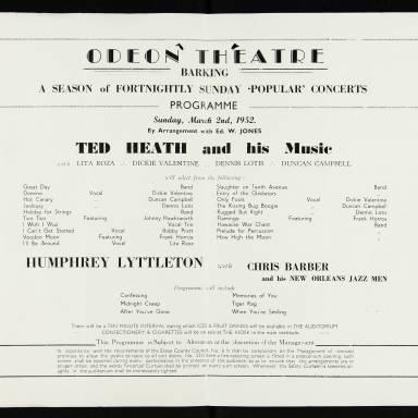Ted Heath & Humphrey Lyttleton, Odeon Theatre, Barking - 1952 002