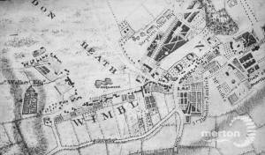 Roques map of Surrey 1741, showing the Wimbledon area