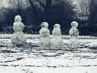 Snowmen on Cricket Green