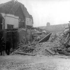 Bomb damage to Edward Street,  looking east