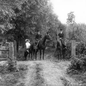 G36-310-07 A family of three on horseback in a leafy country lane.jpg