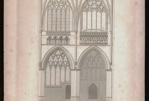 Cathedrals nave, two compartments, north side, 1826, Exeter Cathedral