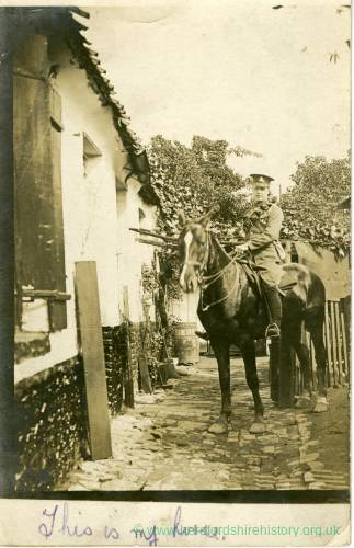 Serviceman on horse, undated postcard