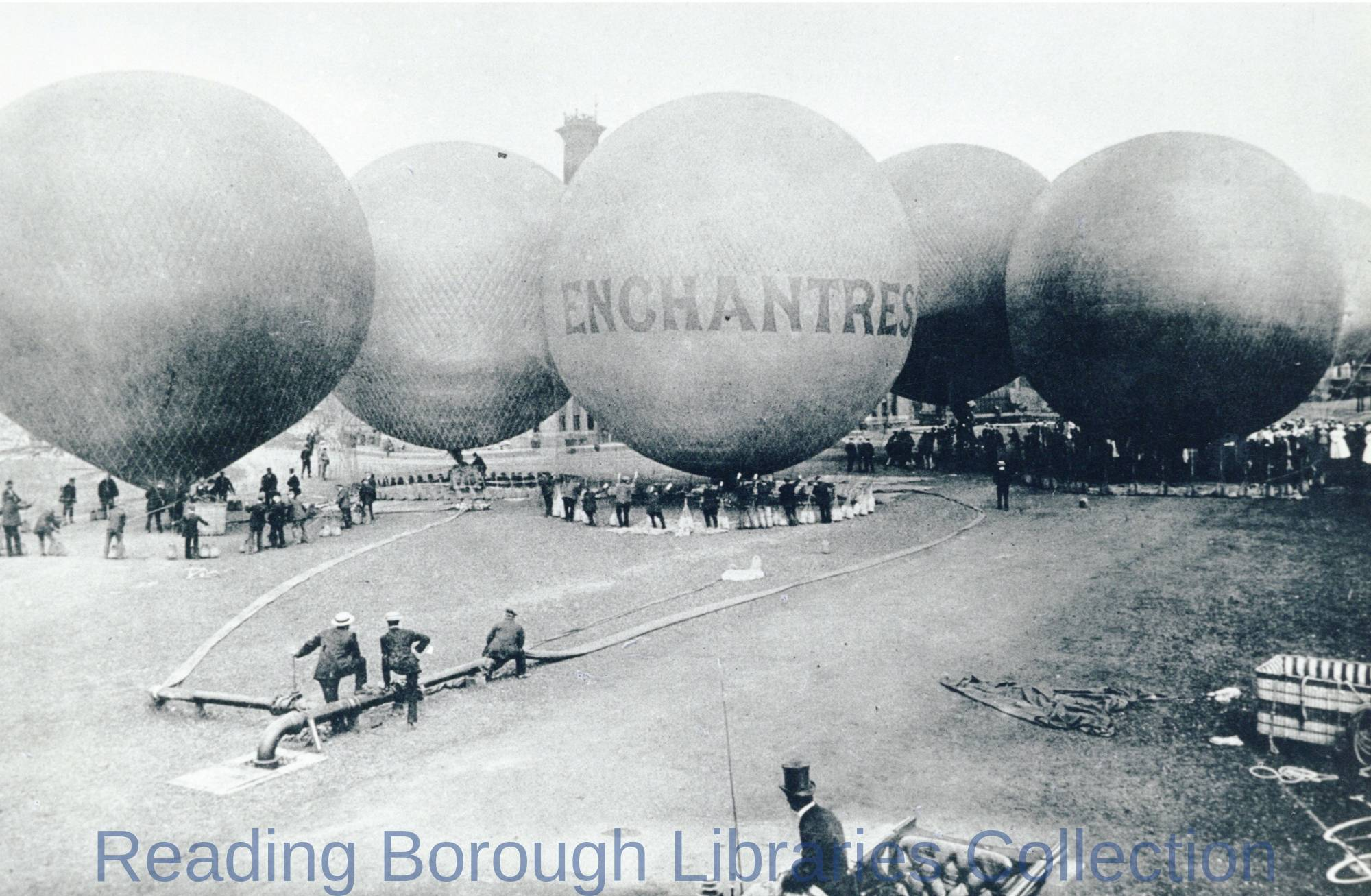 The Royal Aero Club Balloon Rally at Reading Gasworks, June 1906.