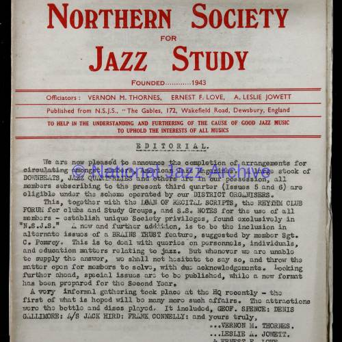 Northern Society For Jazz Study Vol.1 No.5 0001