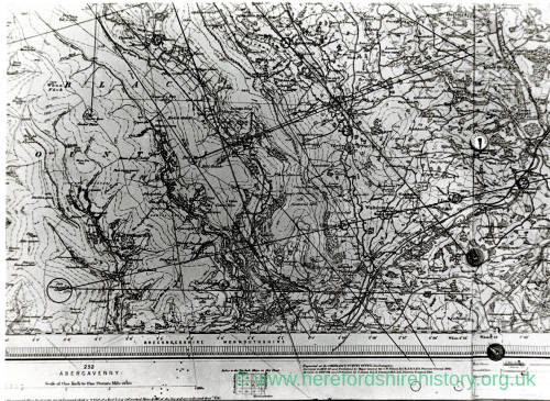 Trackways map, Black Mountains to Kentchurch Ley