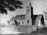 Mitcham Church  -  Photo of water colour by H. Petrie FSA in 1797