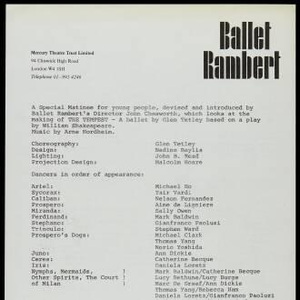 Sadler's Wells Theatre, London, March 1980