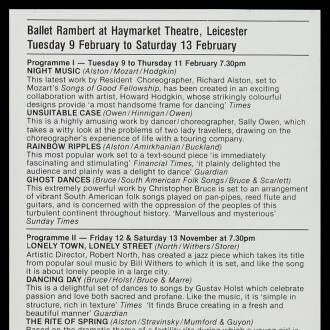 Haymarket Theatre, Leicester, February 1982