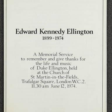 Duke Ellington Memorial Service – London – June 1974 001