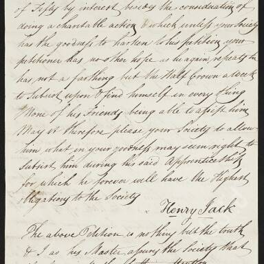 Henry Jack requesting assistance during his apprenticeship, since his father's illness and death have left him indigent (Part 3)
