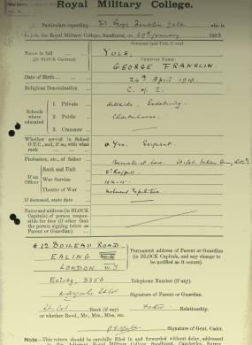 RMC Form 18A Personal Detail Sheets Jan 1915 Intake