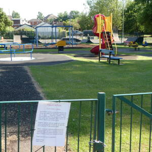 Closed play area at Ledbury Recreation ground