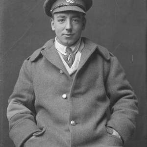 Soldier sitting, possibly East Surrey Regiment