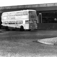 Bus leaving Chichester Garage