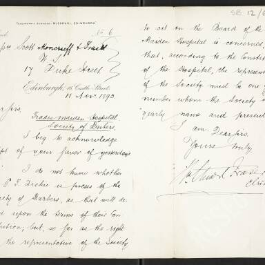 Letter to Scott Moncrieff and Traill from Stuart Fraser, Clerk