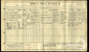 1911 census - 52 Kelmscott Road, Wandworth Common