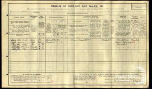 1911 census - 52 Kelmscott Road, Wandworth Common