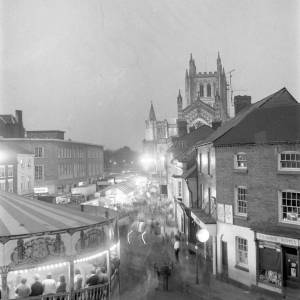 Hereford May Fair on King Street at Night - Long Exposure, 7 May 1970
