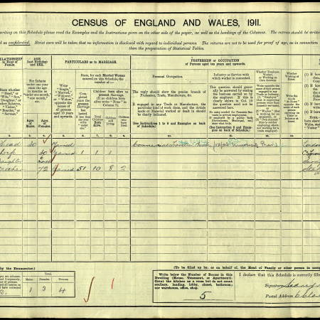 1911 Census for Avondale,  6 Clarendon Grove, Upper Mitcham