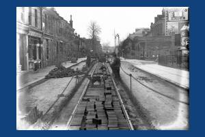 Merton Road, Wimbledon: Tram lines being laid