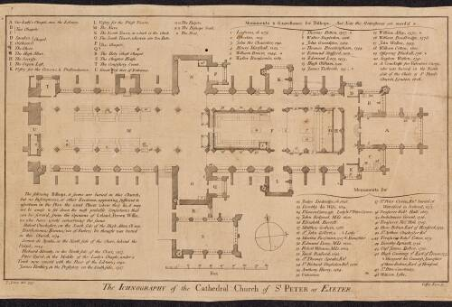 The Ichnography of the Cathedral Church of St Peter, 1757, Exeter