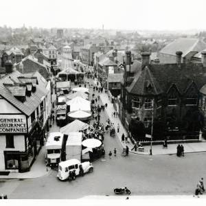 May Fair attractions along King Street, Hereford, 1959 - also showing The Residence Hotel on the corner with Broad Street, demolished before June 1959