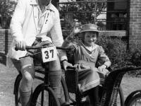 Mr Derek Roberts and his daughter Maria during the Southern Veteran Cycle Club run 1960