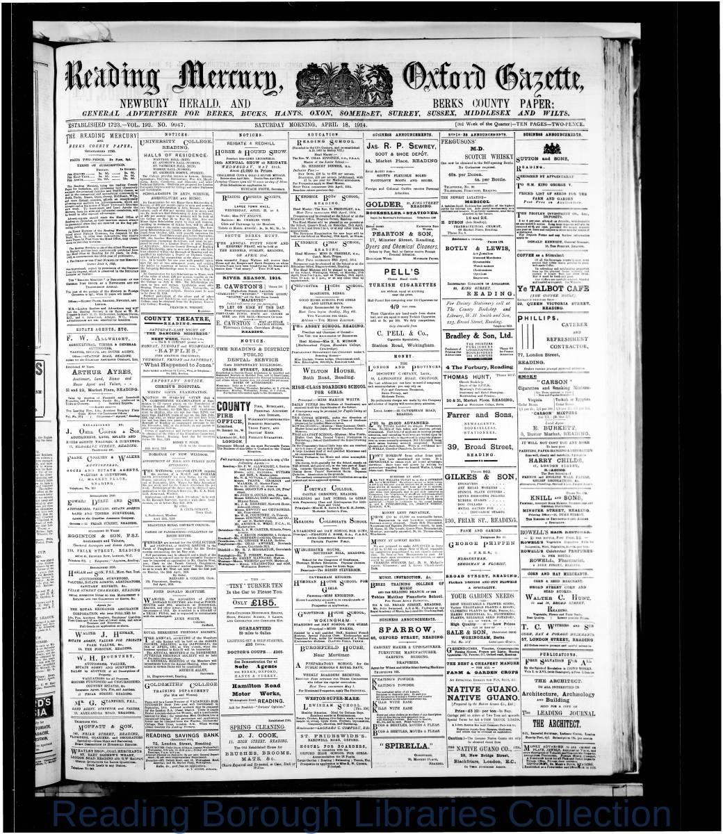 Reading Mercury Oxford Gazett Saturday, April 18, 1914. Pg 1