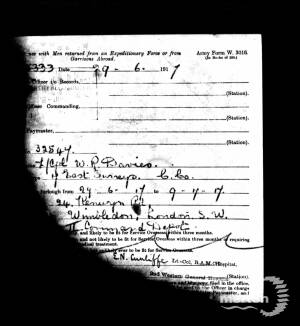 Service Record - William Reginald Davies
