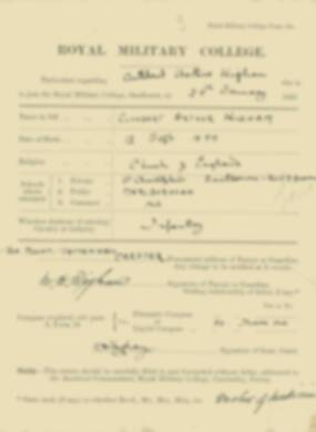 Cuthbert Wigham -  RMC Form 18A Personal Detail Sheets Jan & Sept 1920 Intake