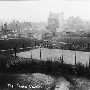 Chapeltown Park Tennis Courts with rear of Newton Hall and the Midland Bank