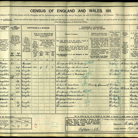 1911 Census Grays, Essex