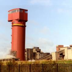 Demolition of  the Crown Shaft Tower at Westoe Colliery