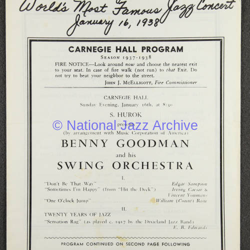 Benny Goodman & his Swing Orchestra, Carnegie Hall. January 16th 1938 001