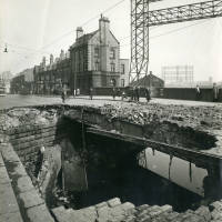 Stanley Road canal bridge, bomb damage, Blitz
